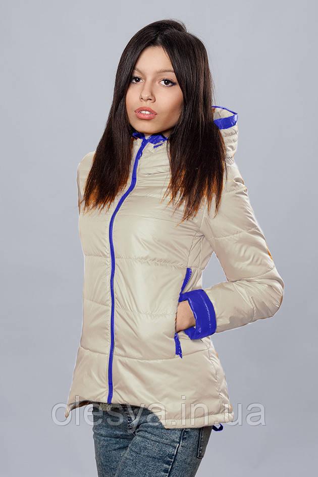 Женская демисезонная куртка. Код модели К-67-12-16. Цвет молочный с электриком.