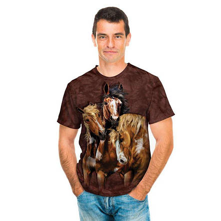 3D футболка для мальчика The Mountain р.XL 13-15 лет футболки детские с 3д рисунком (Лошади), фото 2