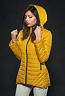 Молодежная женская демисезонная куртка. Цвет горчица. Код модели К-73-12-16.