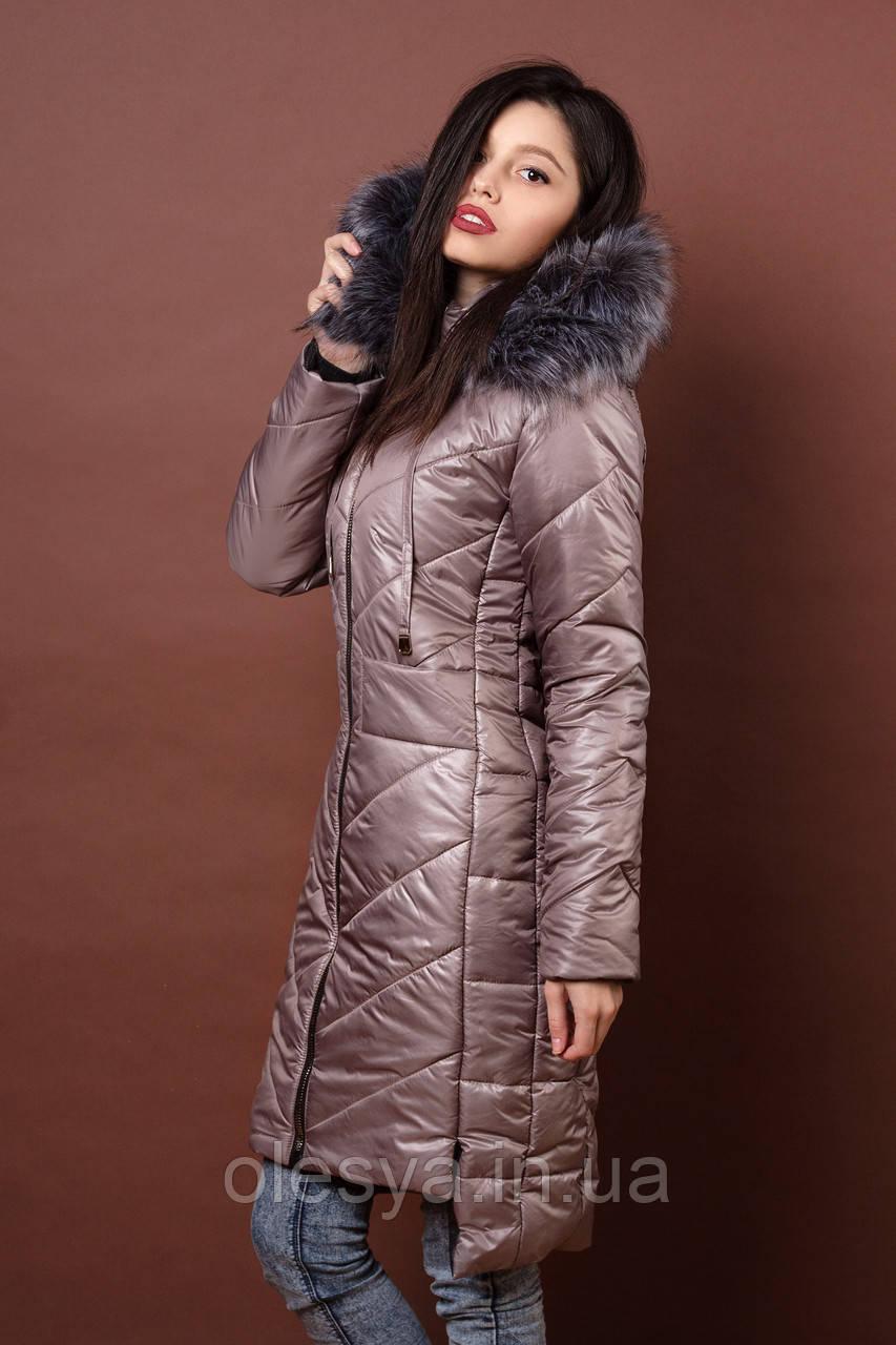 Зимняя женская молодежная куртка. Код К-77-12-17. Цвет капучино.