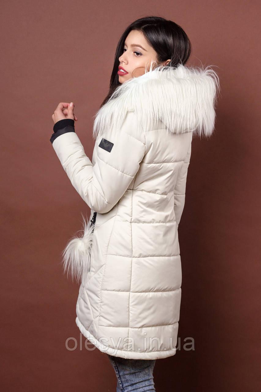 Зимняя женская молодежная куртка. Код К-79-36-17. Цвет молочный.