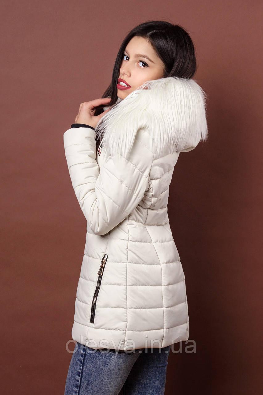 Зимняя женская молодежная куртка. Код К-78-36-17. Цвет молочный.ХЛ