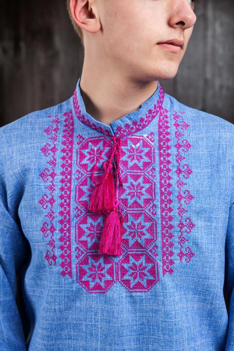 Джинсовая рубашка для мужчины с вышивкой Орнамент Звезда