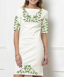 Заготовка жіночого плаття чи сукні для вишивки та вишивання бісером Бисерок  «Лілії 1381» (П-138-1 )