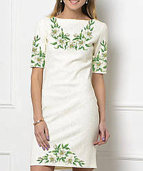 Заготівля жіночого плаття чи сукні для вишивки та вишивання бісером Бисерок «Лілії 1381» (П-138-1 )