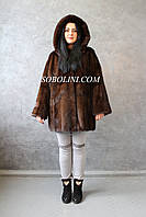 Норковая шуба из аукционного меха с капюшоном, длина 80 см, фото 1