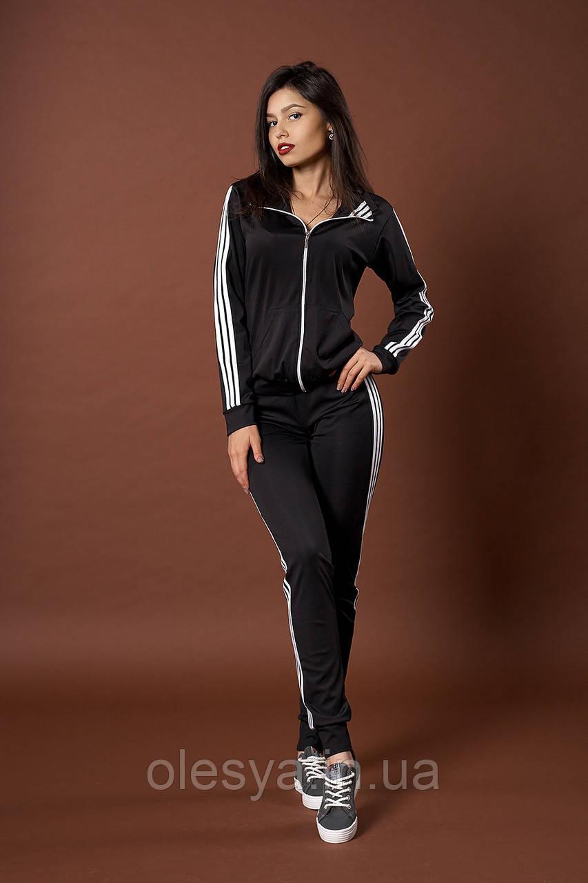 c2144dc7 Женский молодежный спортивный костюм. Код модели КС-13. Цвет черный с белым.  Нет в наличии