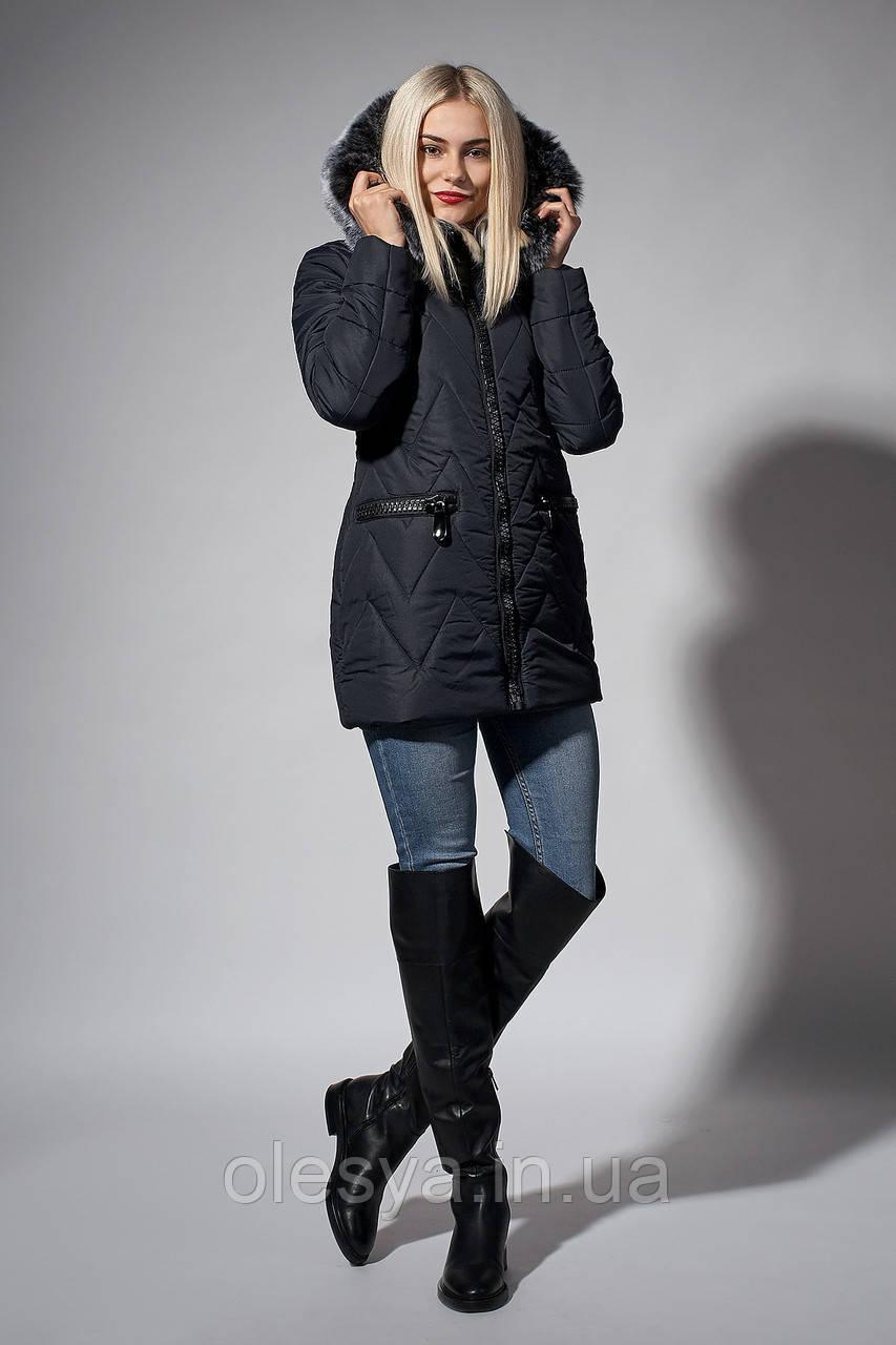 Зимняя женская молодежная куртка. Код К-107-36-18. Цвет синий.