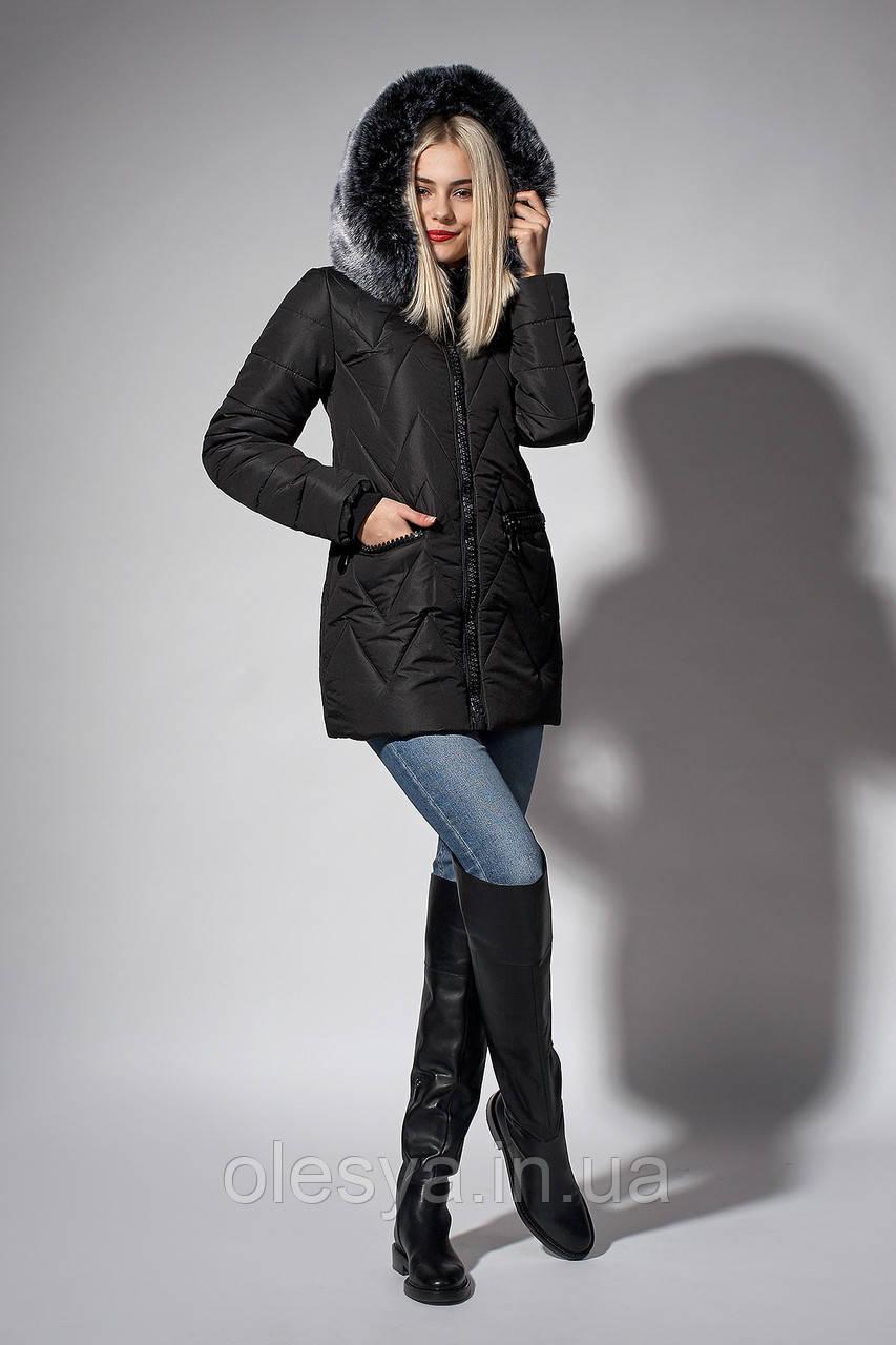 Зимняя женская молодежная куртка. Код К-107-36-18. Цвет черный.
