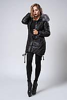 Зимняя женская молодежная куртка. Размер XL. Цвет черный.
