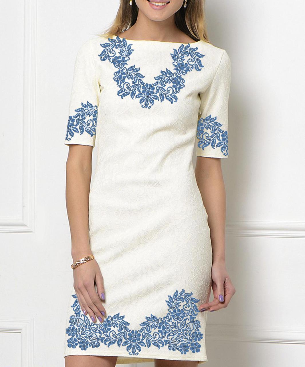 Заготовка жіночого плаття чи сукні для вишивки та вишивання бісером Бисерок  «Синій вечір» (П-137 )