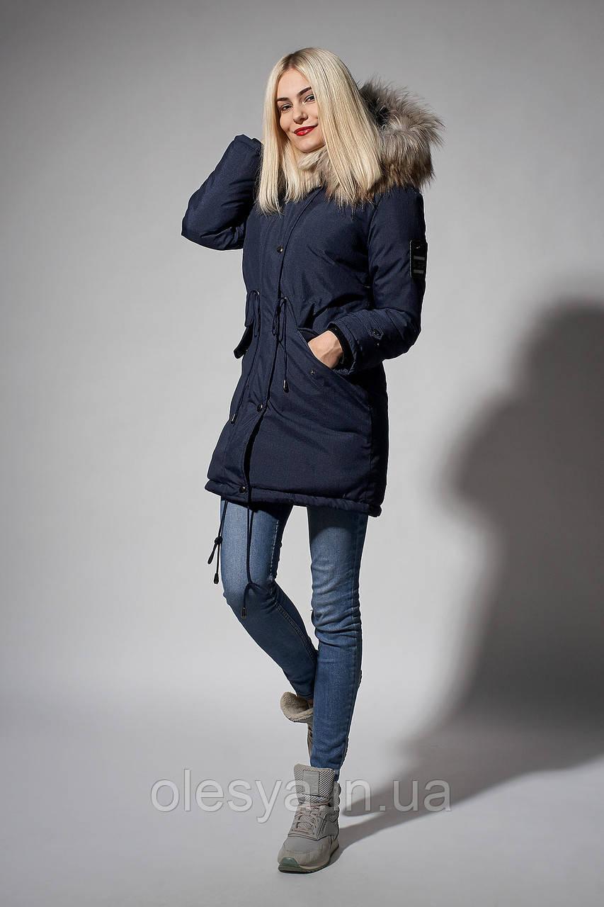 Зимняя женская парка. Код К-110/E-61-18. Цвет синий джинс.