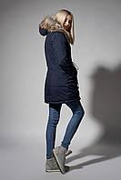 Зимняя женская парка. Код К-110/E-61-18. Цвет темно синий