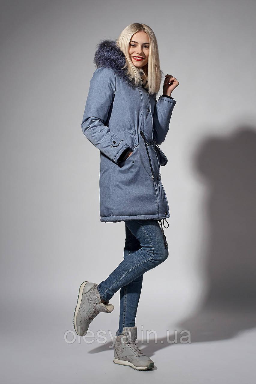 Зимняя женская парка. Код К-110/Ч-61-18. Цвет голубой джинс.