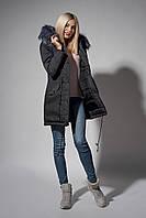 Зимняя женская парка. Код К-110/Ч-61-18. Цвет черный джинс.