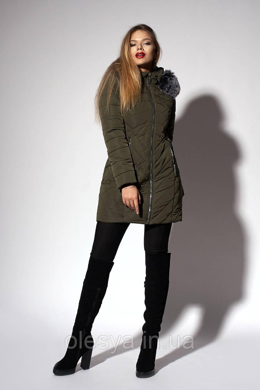 Зимнее женское молодежное пальто. Код К-108-58-18. Цвет хаки.