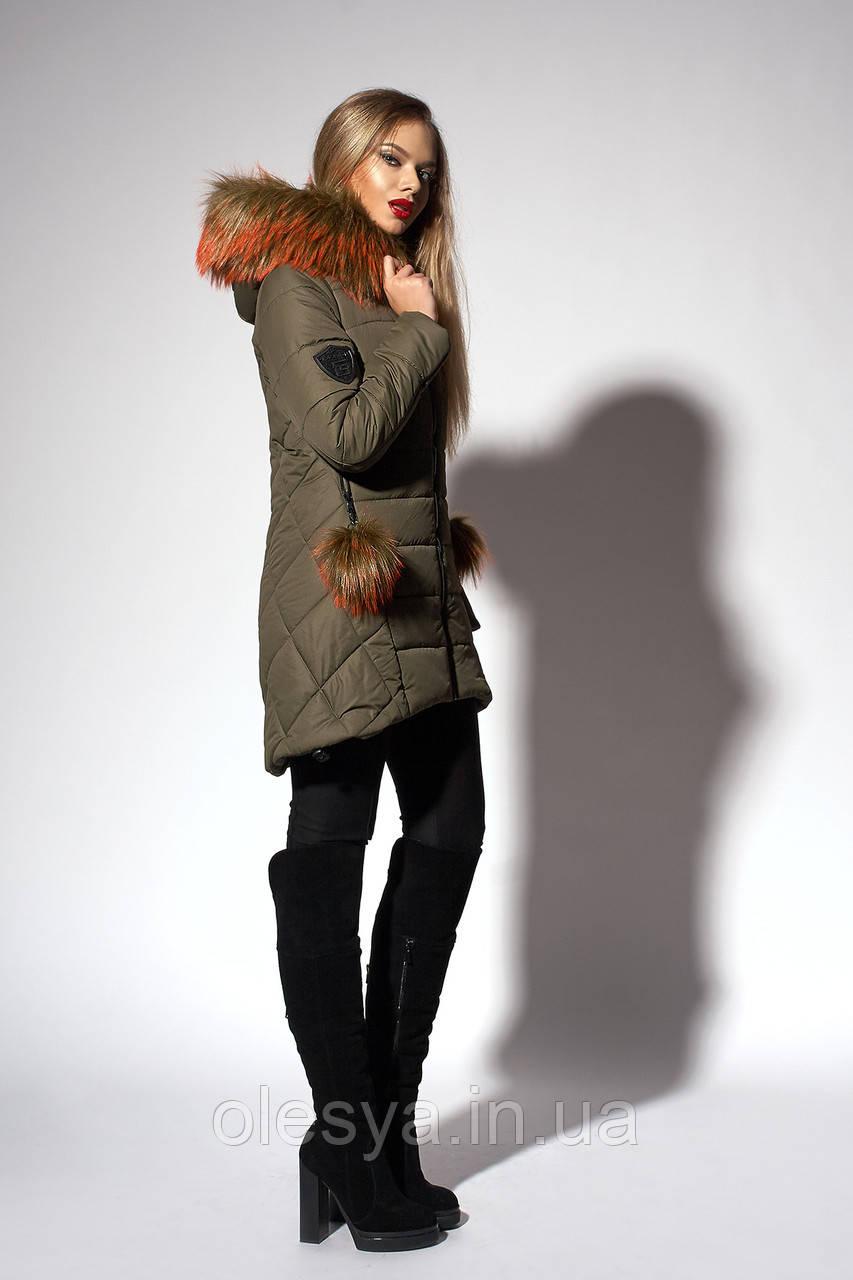 Зимняя женская молодежная куртка. Код К-111/Х-36-18. Цвет хаки. Размер 42