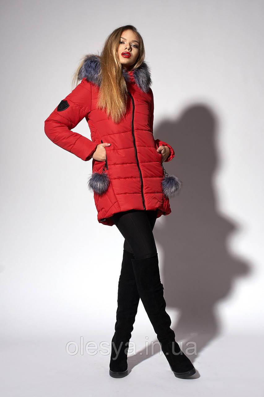 Зимняя женская молодежная куртка. Код К-111/Ч-36-18. Цвет красный. Размер 42