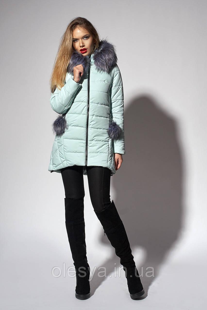 Зимняя женская молодежная куртка. Код К-111/Ч-36-18. Цвет мятный.