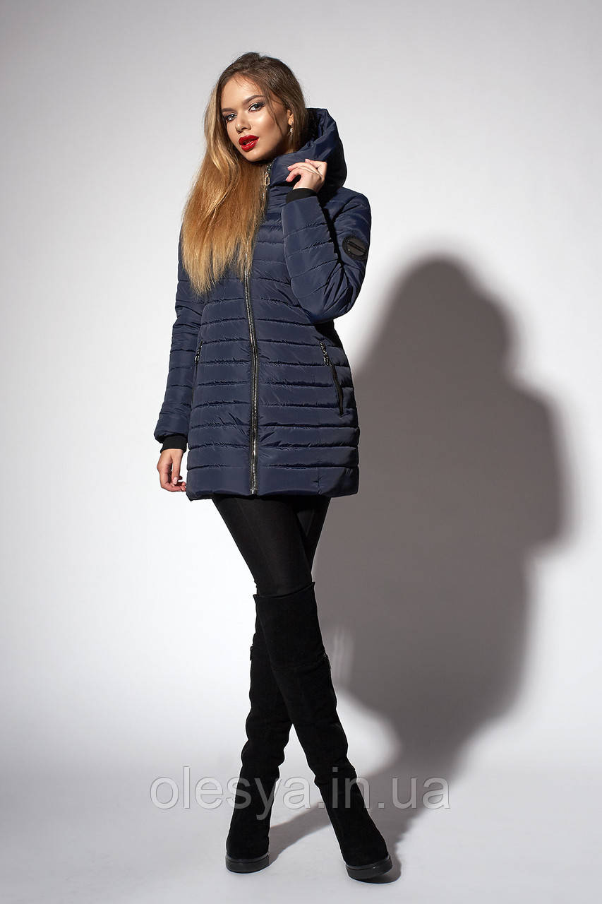 Зимняя женская молодежная куртка. Код К-63-37-18. Цвет темно синий.