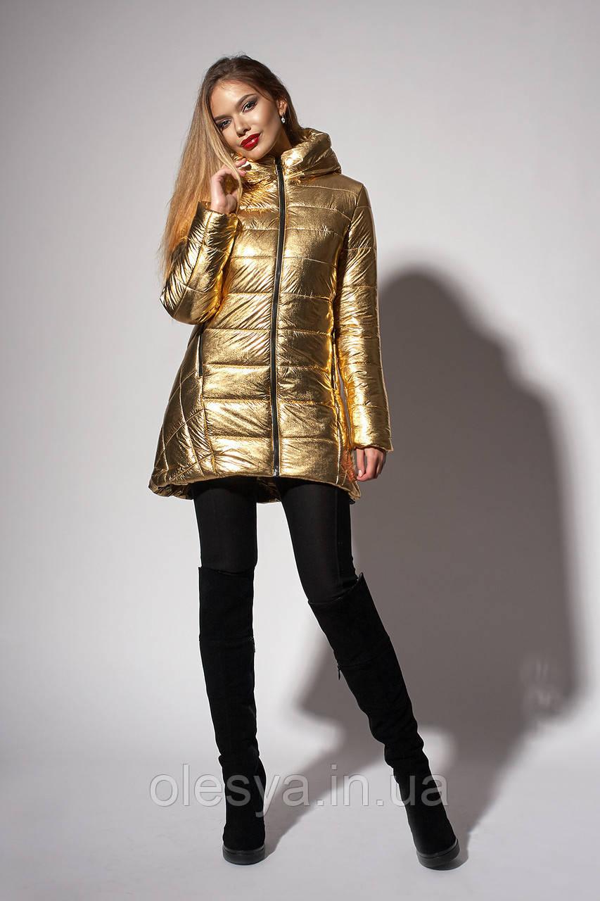 Зимняя женская молодежная куртка. Код К-111-60-18. Цвет золото.