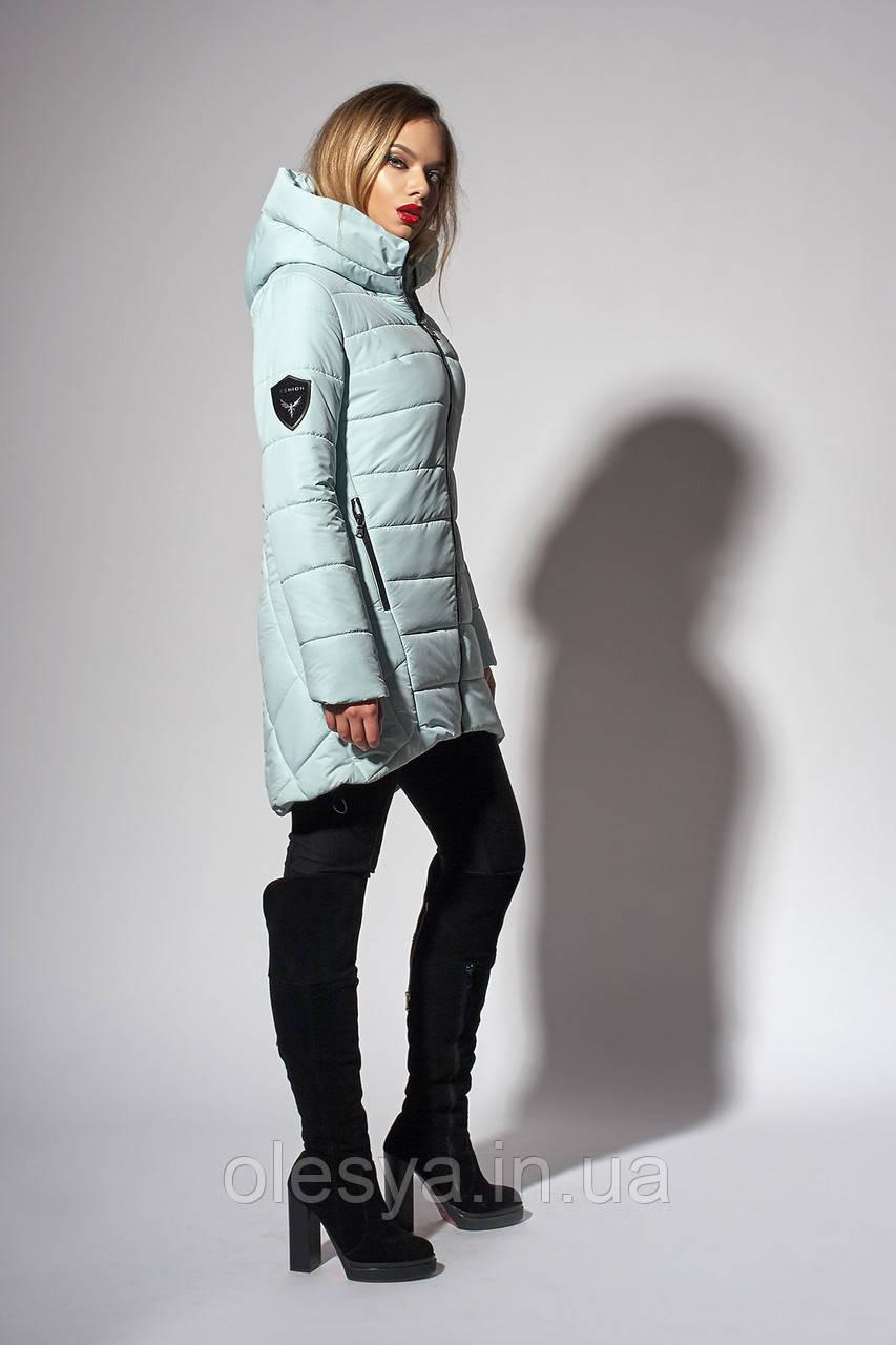 Зимняя женская молодежная куртка. Код К-111-36-18. Цвет мятный.