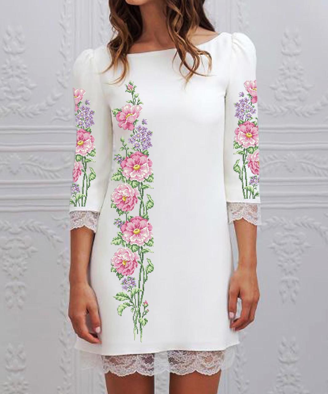 Заготовка жіночого плаття чи сукні для вишивки та вишивання бісером Бисерок  «Рожева півонія» (П-134 )