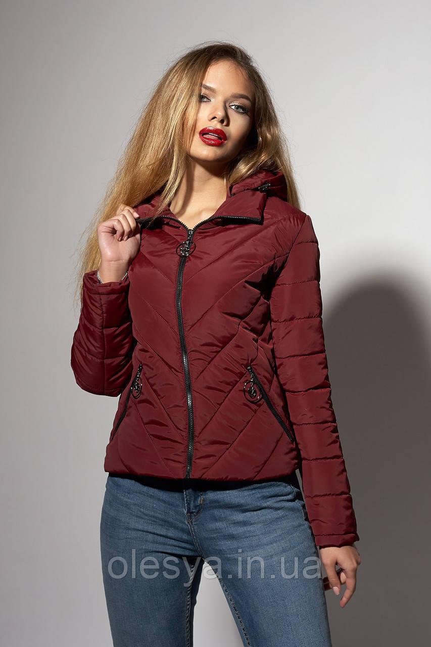 Женская молодежная демисезонная куртка. Код модели К-92-37-18. Цвет марсала.