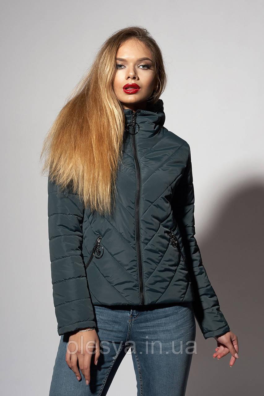 Женская молодежная демисезонная куртка. Размеры 42- 48. Цвет темно зеленый