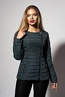 Женская молодежная демисезонная куртка. Код модели К-114-37-18. Цвет темно зеленый.
