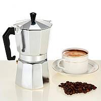Гейзерная кофеварка из алюминия 300 мл, 6 порции