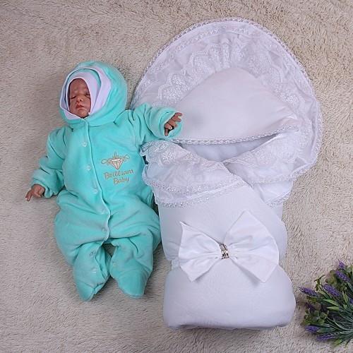 Зимний Волшебство (белый)+Brilliant Baby (махра ментол)