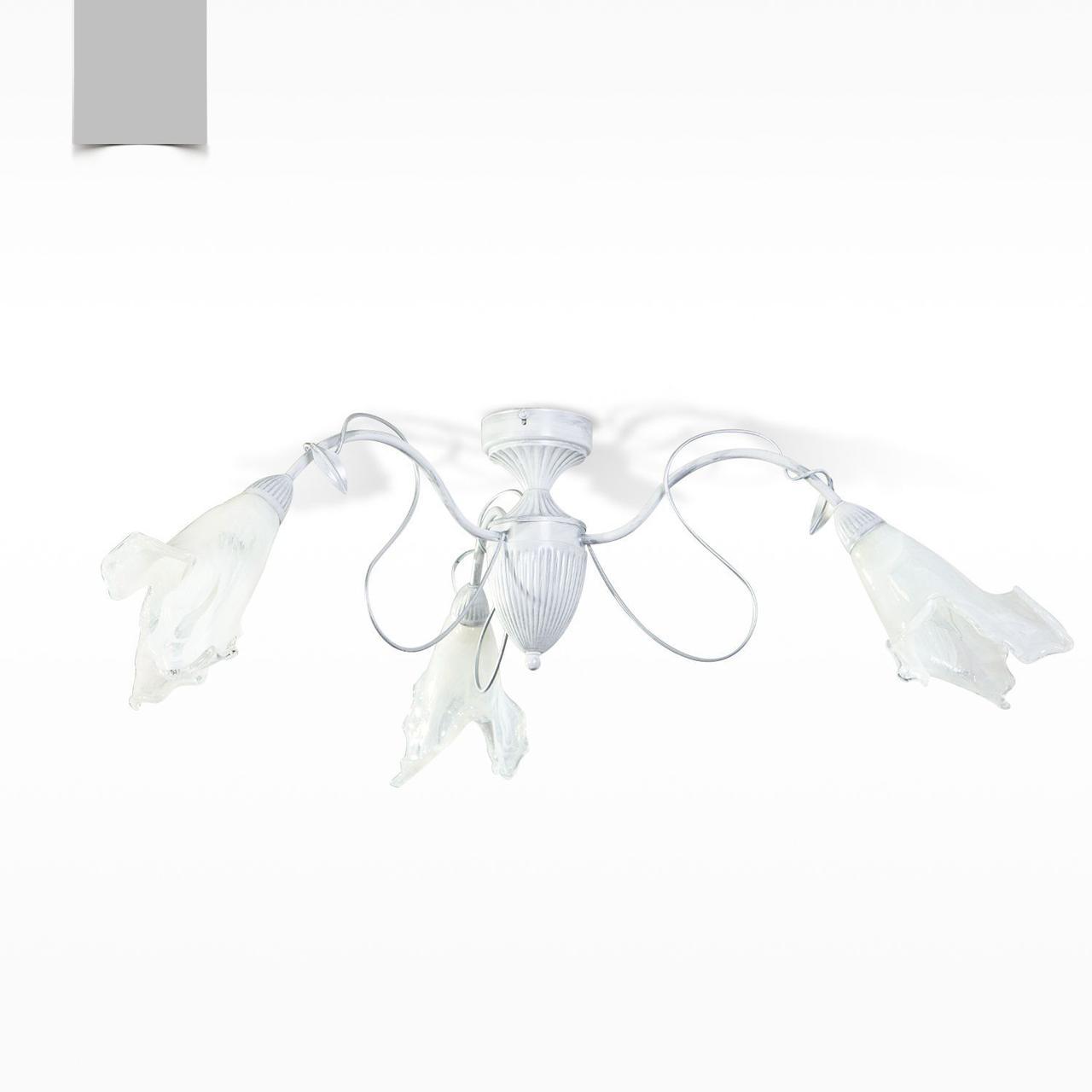 Люстра для спальни, кухни флористика на 3 стеклянных плафона 30203-1