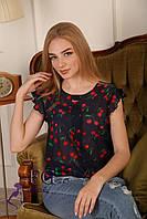 "Блузка шифоновая ""Сьюзи - вишня"" темно-синий, фото 1"
