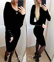 """Платье ангоровое  """"Перисс"""" с пуговицами на рукавах черный, 42"""