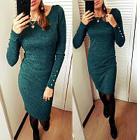 """Платье ангоровое  """"Перисс"""" с пуговицами на рукавах темно-зеленый, 48"""