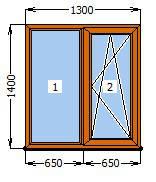 Окно  1300 х 1400 в массе Золодой Дуб