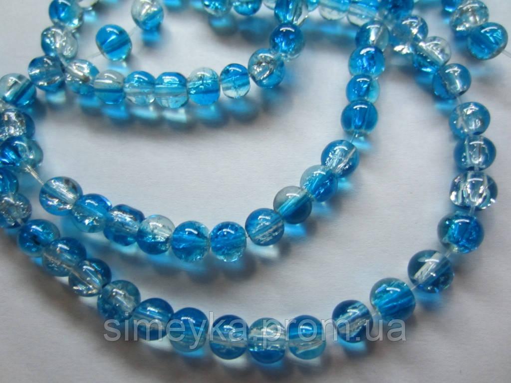 """Бусина стеклянная прозрачная """"битое стекло"""" 6 мм, 20 шт./уп. Бело-голубая (бирюзовая)"""