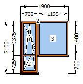Балконный Блок в массе Золотой Дуб