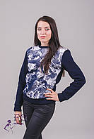 "Свитшот женский на флисе ""Абстракция"". Распродажа модели темно-синий, 42-44"