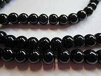 Бусина стекляная чёрная глянцевая, непрозрачная, 6 мм, 20 шт./уп.