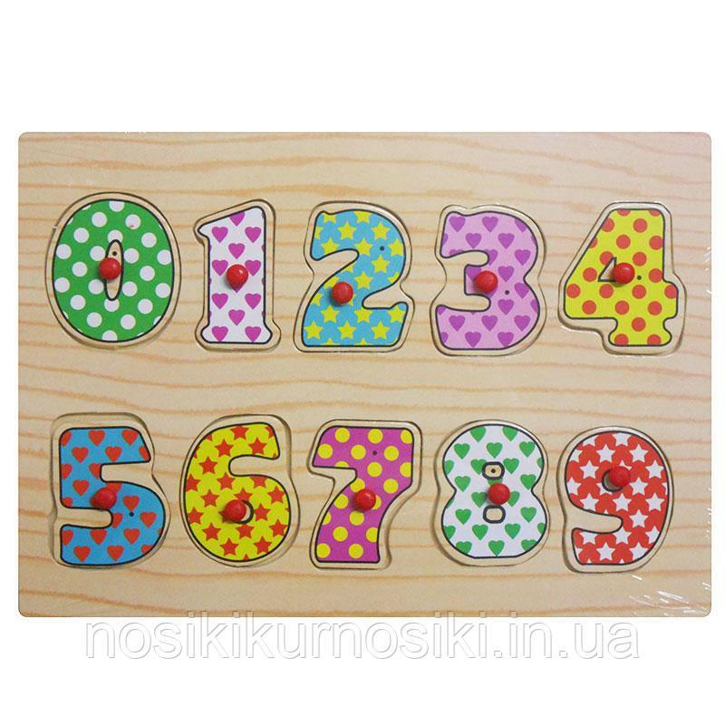 Деревянные игрушки вкладыши цифры 0-9 MD 0646