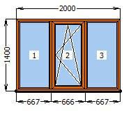 Окно Металлопластиковое в массе Золотой дуб 2000х1400