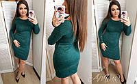 """Ангоровое платье """"Перрис"""": большой размер темно-зеленый, 52"""