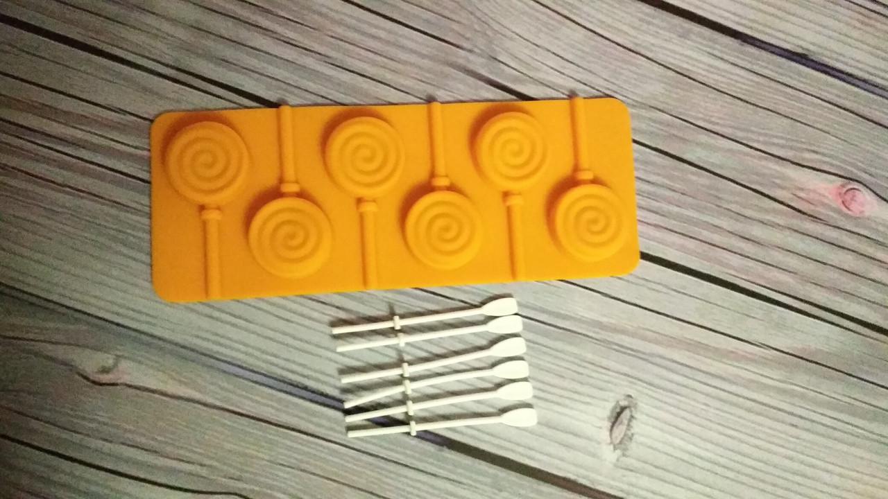 Силиконовая форма для конфет на палочке, леденцов Завиток