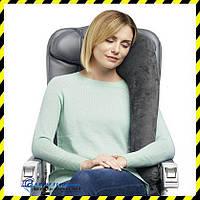 Дорожная надувная Подушка для путешествий с боковой поддержкой Silenta (brown grey)!, фото 1