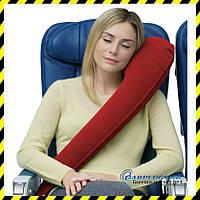 Дорожная надувная Подушка для путешествий с боковой поддержкой (rose red)!