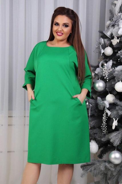 Платье, модель 772 батал, цвет - зеленый (трава)