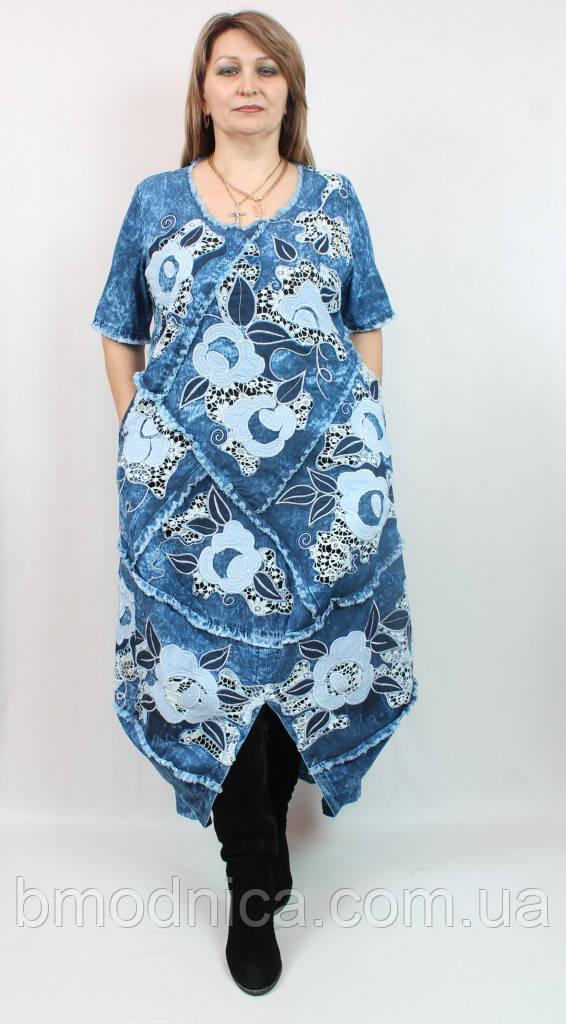 80aff092f69 Модное джинсовое платье батал Турция  продажа
