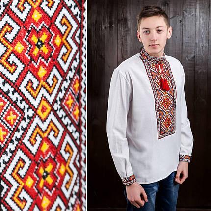 Мужская рубашка с красной вышивкой Мирослав, фото 2
